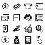 Iconos de las finanzas y de las actividades bancarias, tarjeta de crédito, vector del ejemplo de la atmósfera Fotografía de archivo libre de regalías