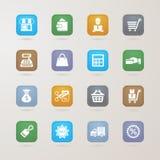 Iconos de las finanzas y de las compras fijados Foto de archivo libre de regalías