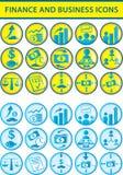 Iconos de las finanzas y del asunto Fotografía de archivo