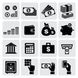 Iconos de las finanzas y del dinero fijados Fotos de archivo