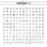 Iconos de las finanzas y de las multimedias del negocio del esquema fijados ilustración del vector