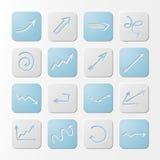 Iconos de las flechas del papel cuadrado Imagen de archivo