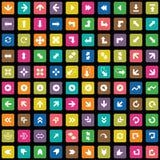 100 iconos de las flechas fijados Foto de archivo libre de regalías