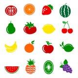 16 iconos de las frutas fijados Foto de archivo libre de regalías