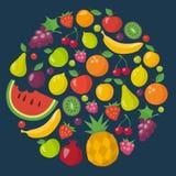 Iconos de las frutas fijados en estilo plano Fotos de archivo