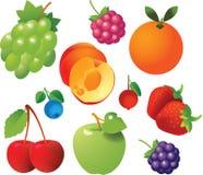 Iconos de las frutas frescas Imagenes de archivo