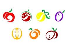 Iconos de las frutas y verdura Fotografía de archivo libre de regalías