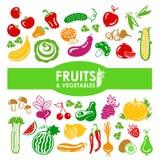 Iconos de las frutas y verdura Foto de archivo
