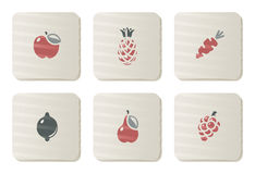 Iconos de las frutas y verdura | Serie de la cartulina Imagen de archivo