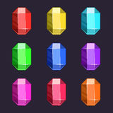 Iconos de las gemas de la historieta fijados en diversos colores Foto de archivo libre de regalías