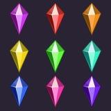 Iconos de las gemas del vector de la historieta Fotos de archivo libres de regalías