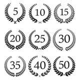 Iconos de las guirnaldas del aniversario y del laurel del jubileo Foto de archivo libre de regalías