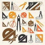 Iconos de las herramientas de dibujo de la escuela Fotografía de archivo