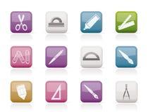 Iconos de las herramientas de la escuela y de la oficina Fotos de archivo