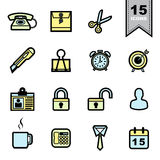 Iconos de las herramientas de la oficina fijados Fotos de archivo libres de regalías
