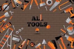 Iconos de las herramientas de los edificios fijados Foto de archivo