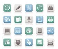 Iconos de las herramientas del asunto y de la oficina stock de ilustración
