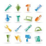 Iconos de las herramientas del edificio y de la construcción Foto de archivo libre de regalías