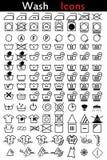 Iconos de las instrucciones de lavado Imágenes de archivo libres de regalías