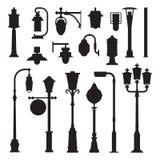 Iconos de las lámparas de calle y de los posts de la lámpara libre illustration