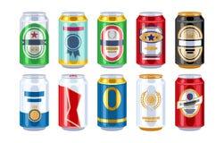 Iconos de las latas de cerveza fijados ilustración del vector