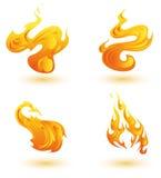 Iconos de las llamas stock de ilustración