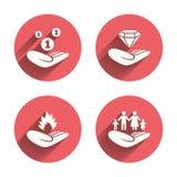 Iconos de las manos amigas Protección y seguro Fotos de archivo