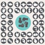 Iconos de las manos del lenguaje de signos fijados Fotografía de archivo