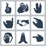 Iconos de las manos del vector fijados Imagen de archivo libre de regalías