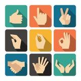 Iconos de las manos fijados Foto de archivo