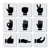 Iconos de las manos fijados Foto de archivo libre de regalías