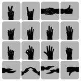 Iconos de las manos fijados negros Fotografía de archivo libre de regalías