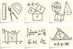 Iconos de las matemáticas en los palillos amarillos de la nota Fotos de archivo libres de regalías