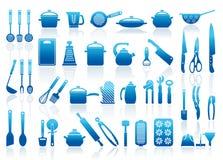 Iconos de las mercancías de la cocina Imagen de archivo libre de regalías