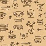 Iconos de las mercancías y de los utensilios de la cocina Imagen de archivo libre de regalías