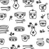 Iconos de las mercancías y de los utensilios de la cocina Foto de archivo