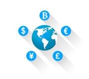 Iconos de las monedas del mundo Foto de archivo