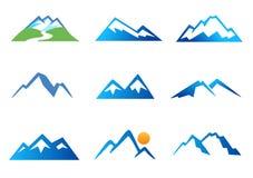 Iconos de las montañas stock de ilustración
