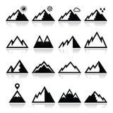 Iconos de las montañas fijados Fotos de archivo libres de regalías
