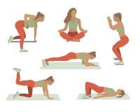 Iconos de las muchachas del deporte Diversos ejercicios del deporte Ejemplo plano del vector stock de ilustración