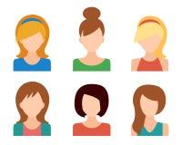 Iconos de las muchachas fijados Foto de archivo