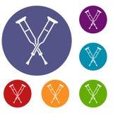 Iconos de las muletas fijados Imagen de archivo