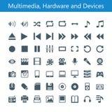 Iconos de las multimedias, del hardware y de los dispositivos stock de ilustración