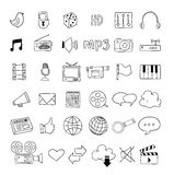 Iconos de las multimedias del web fijados - ejemplo del vector Fotografía de archivo libre de regalías