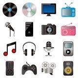 Iconos de las multimedias fijados Imagenes de archivo