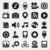 Iconos de las multimedias fijados Foto de archivo libre de regalías