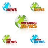 Iconos de las noticias de mundo Imagenes de archivo