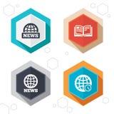 Iconos de las noticias Símbolos del globo del mundo Muestra del libro Fotos de archivo libres de regalías