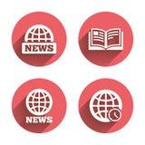 Iconos de las noticias Símbolos del globo del mundo Muestra del libro Fotos de archivo
