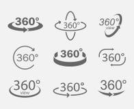 iconos de las opiniones de 360 grados Imágenes de archivo libres de regalías